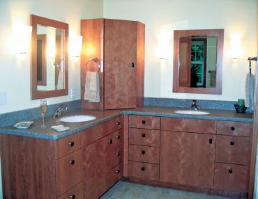 Contemporary-style cabinetry with vertical book matched stained cherry finish