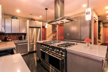 The stainless steel kitchen