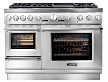 Thermador Steam Range: The best of all worlds — six burners (two burners can be replaced with a grill or griddle), one convection wall oven, one steam oven and one warming drawer, all in a space of 48 inches. Model #PRD48JDSGU