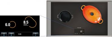 The Freedom Induction Cooktop incorporates a natural-mapping user interface. Forty-eight 3-inch induction heating elements allow users to place pots and pans anywhere on the cooking surface, and move them around while cooking. Cookware shape and size are reflected in a 6 1/2-inch touchscreen display, which also controls power setting and cooking time.