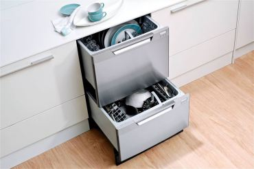 Fisher Paykel dish drawer model No. DD24DCTM6 is the perfect solution for both empty nesters as well as individuals with back issues or those who use wheelchairs, as you don't have to bend down to unload the top dishwasher drawer.