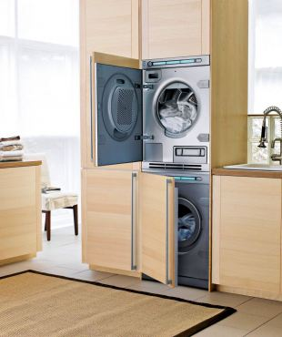 Asko model No. T793CFI/T793FI stackable front-loading washer and dryer is a great space saver while providing the option of being completely incognito. When not stacked, they fit neatly under a standard-height counter.