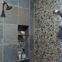 Pebbled master shower