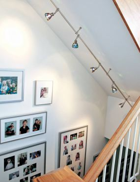 Ceiling mounted rail with standoffs. (Photo courtesy Stone Lighting Design)