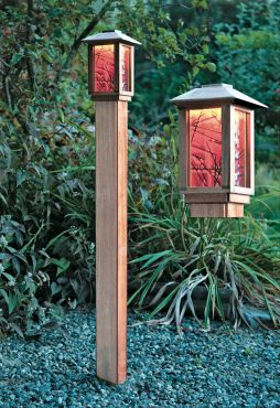 Bistro — Brazilian Cherry bollard with glass designed in collaboration with Mesollini Glass Studio of Bainbridge Island; very weather-resistant with night sky friendly LED lamping provides up to a 60-foot light spread.