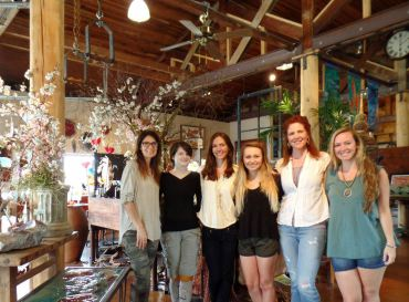 The team behind the Lisa Stirrett Glass Art Studio , left to right: Lisa Stirrett, Stacy Brockberg, Erika Giesbrecht, Madi Bowe, Tara Morris and Anna Douglas.