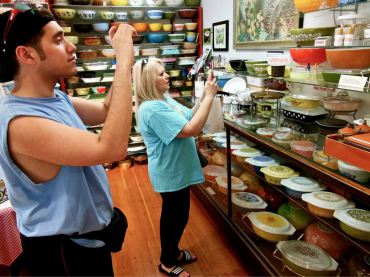 Recent visitors to the Pyrex Museum are fascinated with the pieces on display.