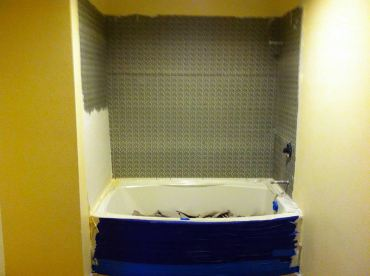 Fresh sheetrock with texture and densboard shower