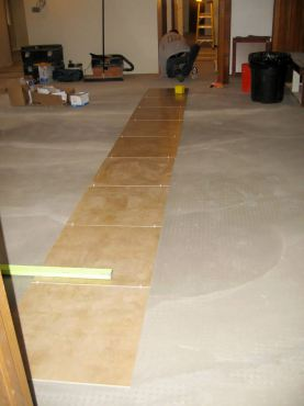 Laying floor tile over electric-resistent radiant heat