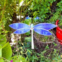Whimsical dragonfly in the O'Briens' garden