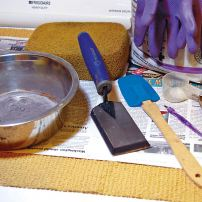 Materials and tools for grouting.