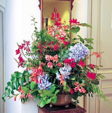 The hallway table features a lush midsummer display of Hydrangea, two cultivars of Crocrosmia, hardy gladiolas, Mahonia, salal, and cedar.
