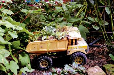 A truck gets a new lease on life as a planter on wheels.