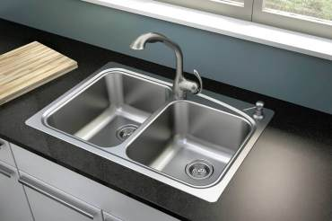Moen Neva two-bowl, self-rimming, two-hole, stainless steel sink