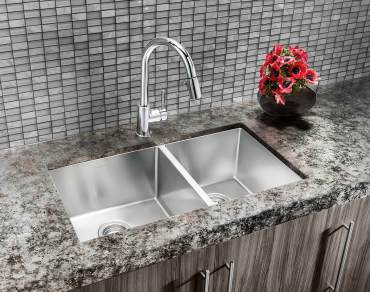Blanco Quartrus double bowl sink in stainless steel