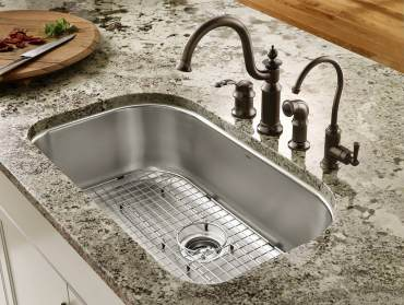 Moen undermount single bowl sink with Waterhill faucet with side spray and Sip traditional filtered water dispenser