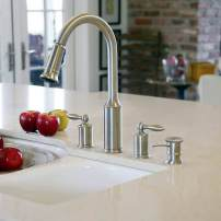 Moen Aberdeen wide spread pull-down faucet with soap dispenser in satin nickel