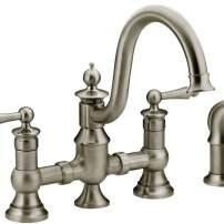 Moen Waterhill bridge style faucet in satin nickel with side spray