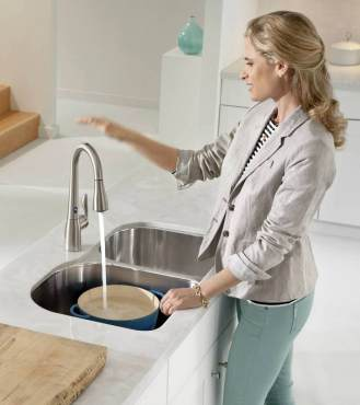 Moen single lever Arbor Motion Sense Faucet in stainless finish