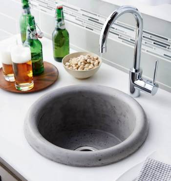 Native Trails Pozo self-rimming concrete bar sink in ash finish