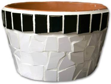Our completed planter in bold black and white