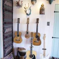 Jim Valley: Masks from around the world and Valley's guitar collection
