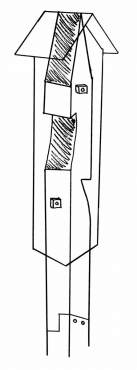 Drawing shows carved-out, untreated post with rocket box placed over top and notched connection between two types of posts.