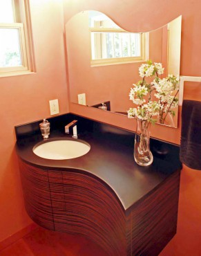 Hands-free, motion-activated vanity faucet by Toto. Design by A Kitchen That Works LLC