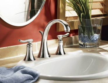 Self-rimming sink with Moen Fina 8-inch widespread faucet