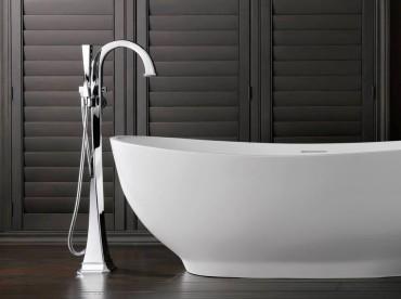 Brizo Virage floor mounted tub filler in polished chrome