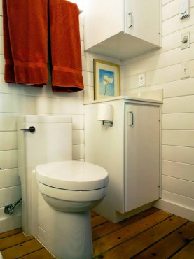 Skirted one-piece toilet by Porcher