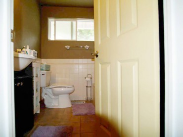 Two-piece toilet with exposed trap — before remodel
