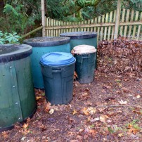 Worm compost set-up with leaves being held for later addition.