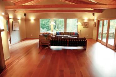 Engineered Moabi wood floor — Design by A Kitchen That Works LLC