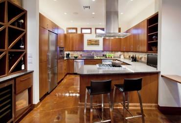 Polished concrete floor — Design by Linda Evans, CKD, CBD, CAPS