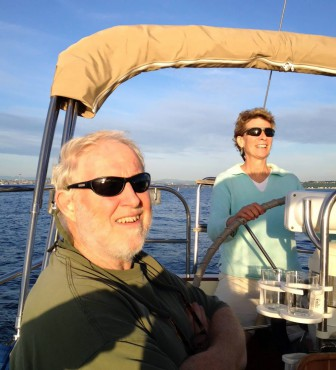 John and Sarah Steiner on their sailboat Carbon.