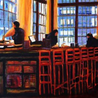 Finished painting, Oliver's Bar in downtown Seattle