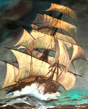 """Iron Sides"" oil painting was completed by Green at age 19."