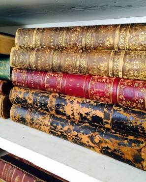 Antique leather-bound books are part of an estate acquisition going to auction at No. 7 Books in Port Gamble.
