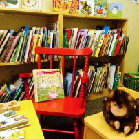 Cozy story time space at Button Bright Books in Poulsbo.