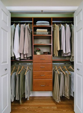 Reach-in closet in cherry wood