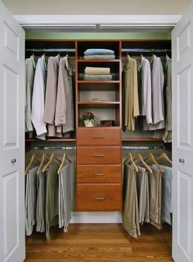 Reach-in closet in cherry wood