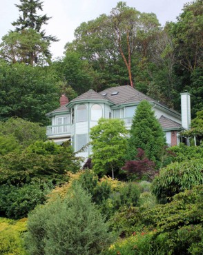 The Albers home, nestled into the hillside and surrounded by the gardens.