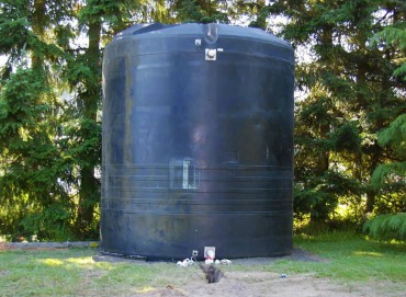 KCD's 11,100-gallon cistern during the 2010 installation and before pipes were installed to pump water in and out. (Photo courtesy Brian Stahl)
