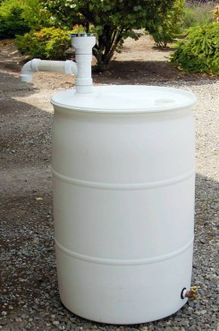 Typical rain barrel configuration for participants in the green stormwater incentives program. There are as many ways to hook up as there are people.