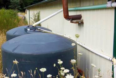 Dual 1,500-gallon cisterns at Pheasant Fields Farm.