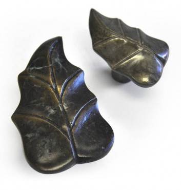 Whimsical bronze leaf cabinet knobs by Hardware Renaissance