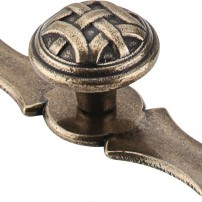 Celtic knob with celtic backplate in german bronze by Top Knobs