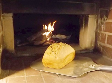 A fresh-baked loaf of bread on a peel at the Alway-Feeney oven