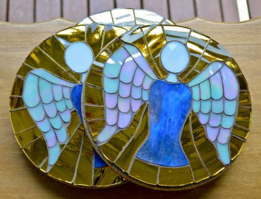 Mosaic trivets for Angel Martos' GoFundMe campaign were made from gifted glass.